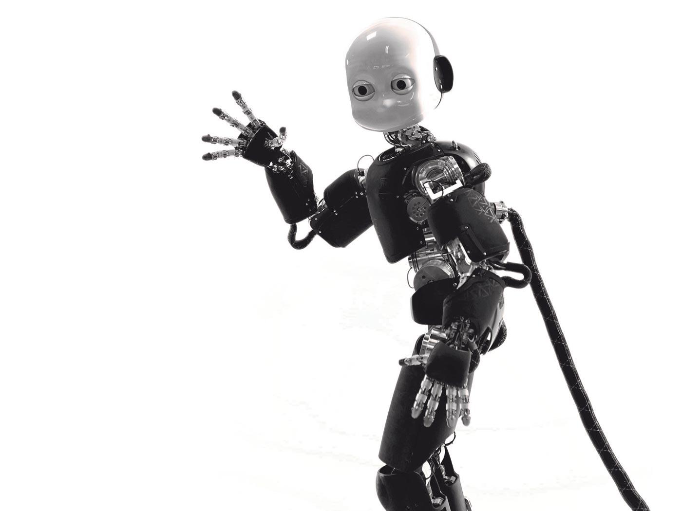 robot zwaait